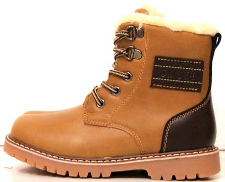 Зимние ботинки,коричневого цвета,на шнуровке и замке,34 размер