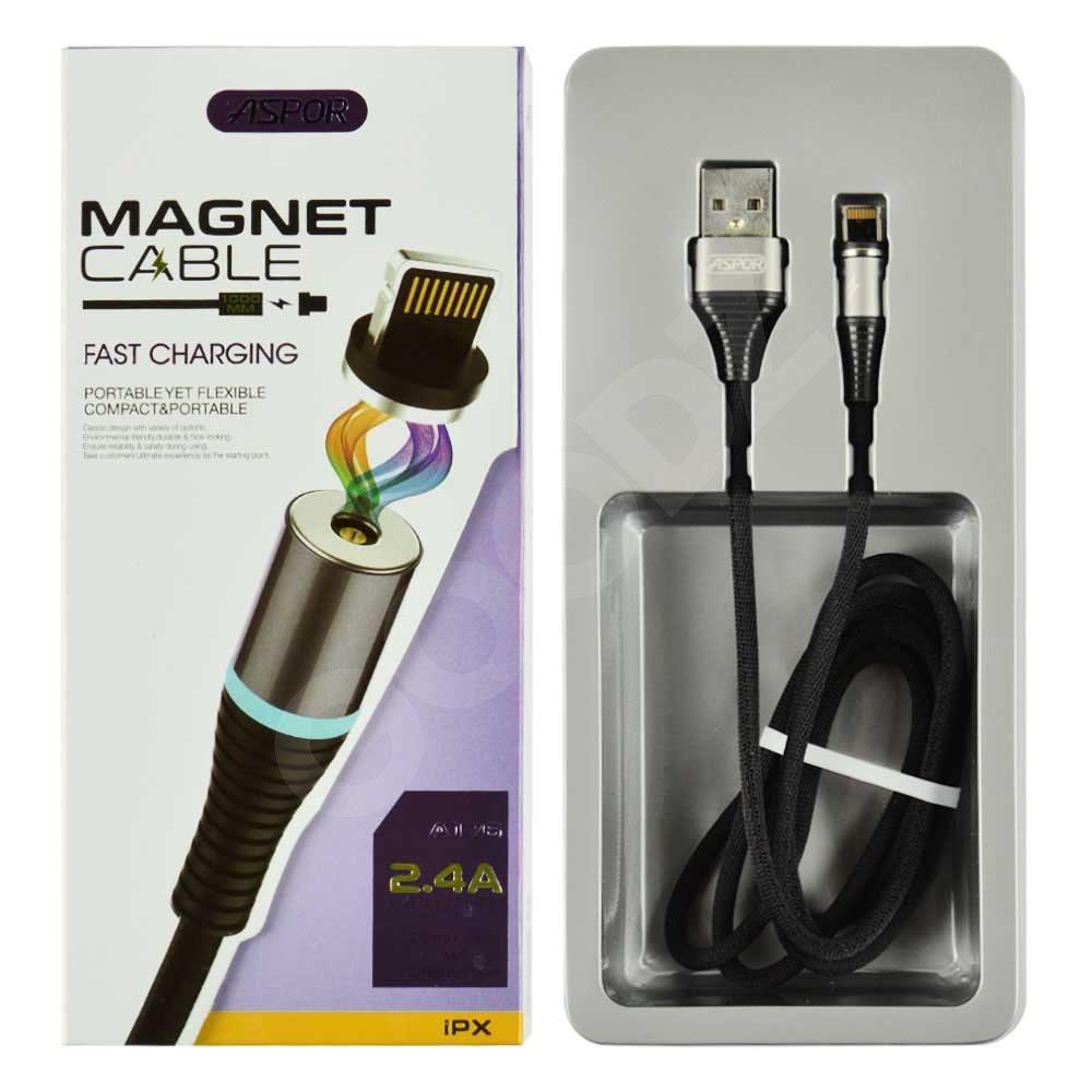 Кабель Lightning для iPhone Aspor A-176 Magnetic 1m, цвет черный