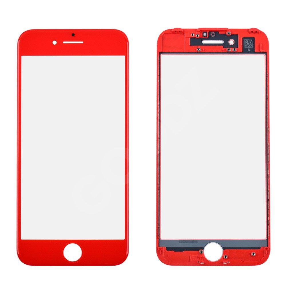 Стекло корпуса для iPhone 7 с рамкой, цвет красный