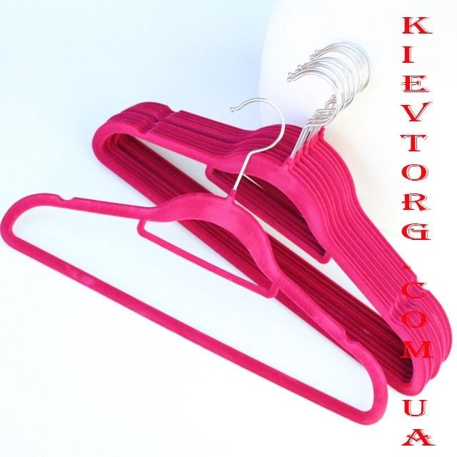 Плечики вешалки флокированные (бархатные, велюровые) для женской одежды в шкаф алые, 40 см, 5 шт
