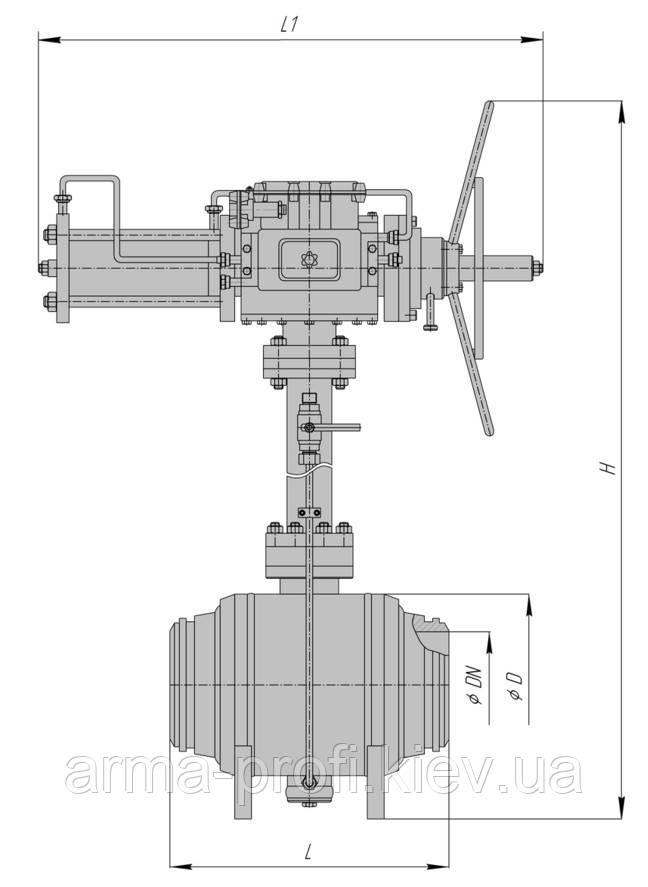 Кран шаровой подземный под приварку РN63 с пневмоприводом и блоком управления БУК DN 80