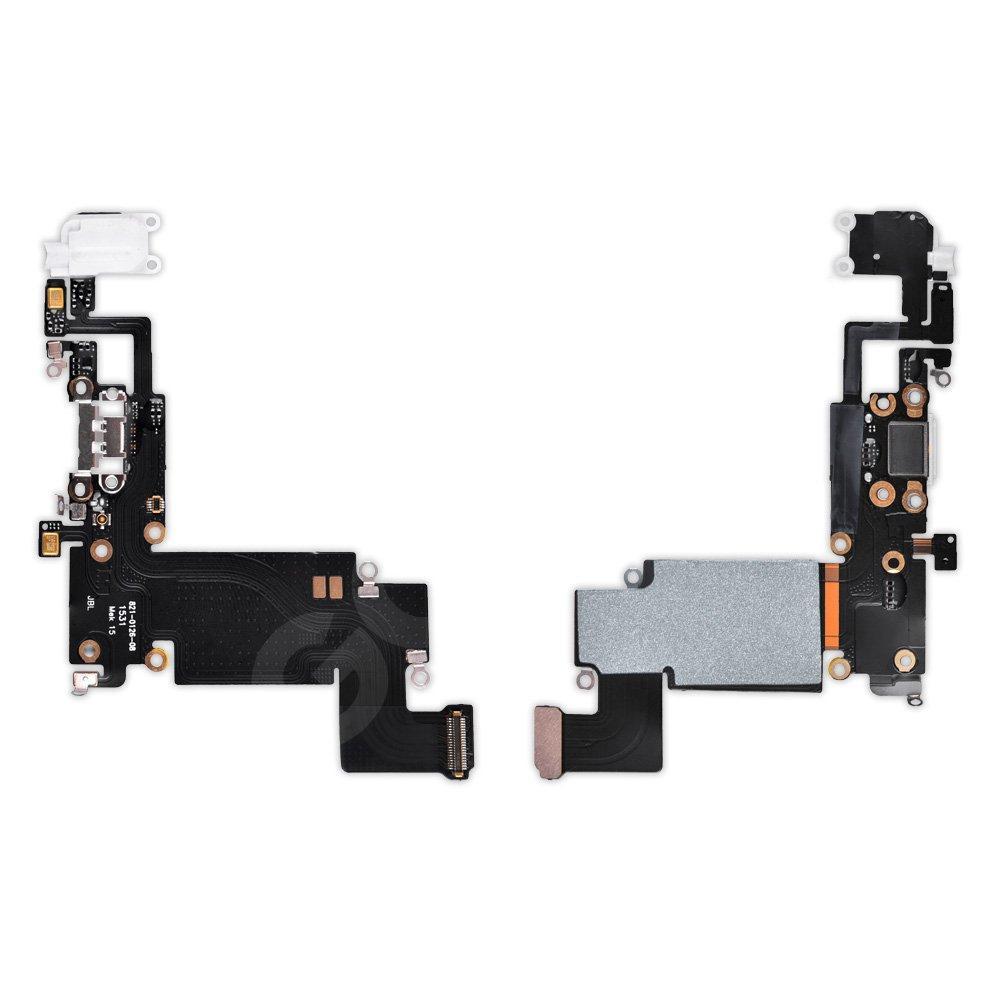 Шлейф для iPhone 6S Plus с разъемом зарядки и наушников, цвет белый