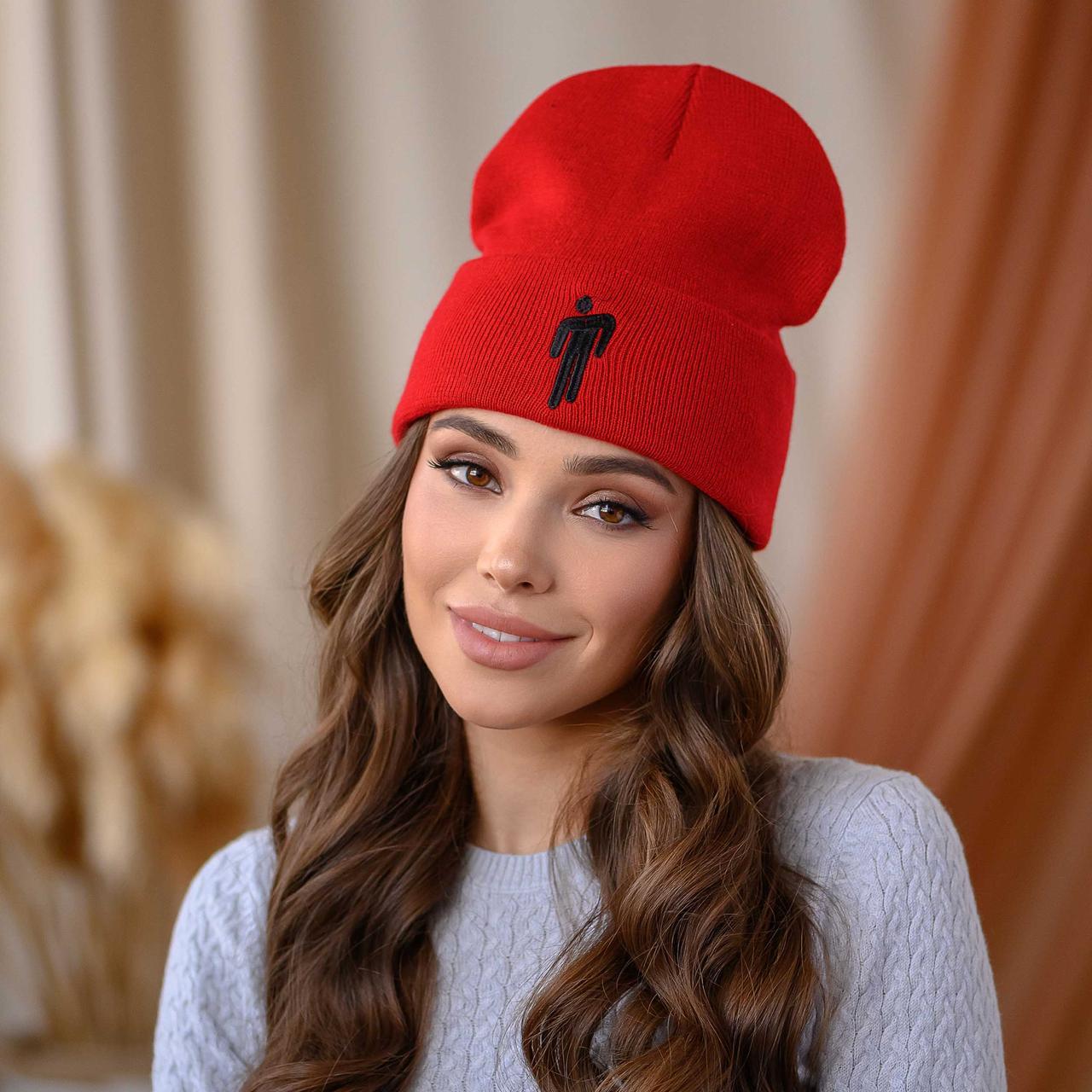 """Вязанная шапка """"Билли"""" цвет-красный"""