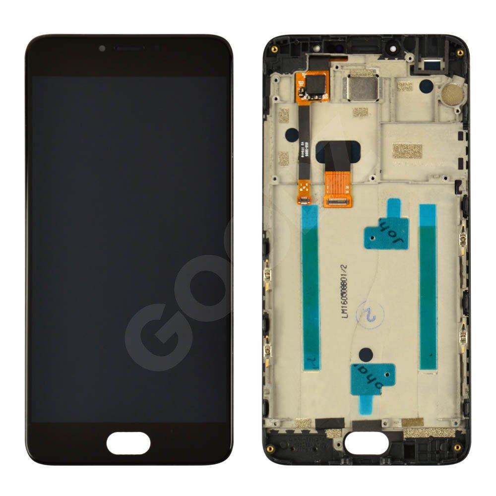 Дисплей для Meizu M3 Note (M681h) с тачскрином и рамкой в сборе, цвет черный, копия высокого качества