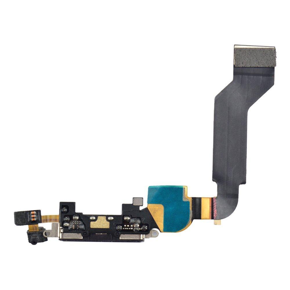 Шлейф для iPhone 4S с разъемом зарядки, цвет черный, копия высокого качества