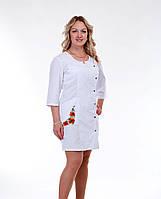 """Медицинский халат женский """"Health Life"""" коттон белый с вышивкой 3126"""