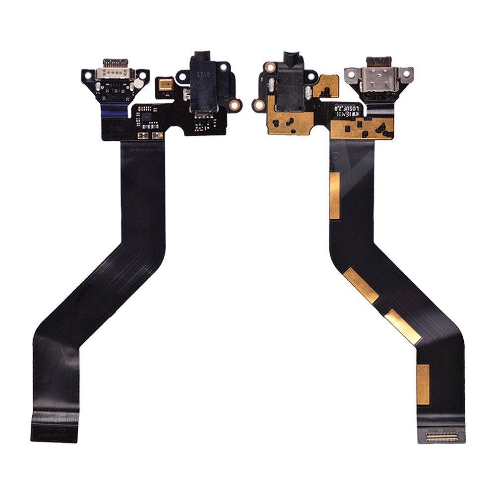 Шлейф для Meizu Pro 6 с разъемами зарядки и наушников, цвет черный