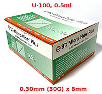 Шприц инсулиновый BD Micro Fine Plus 0,5мл 30G 0,30 x 8 мм U-100 (100 шт.) REF 320930 320933