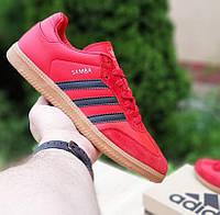 Мужские кроссовки Adidas Samba красные с чёрным осень-весна. Фото в живую. Реплика