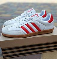 Мужские кроссовки Adidas Samba белые с красным осень-весна. Фото в живую. Реплика