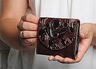 Кожаный кошлек женский, компактый кошелек ручной работы из натуральной кожи., фото 1