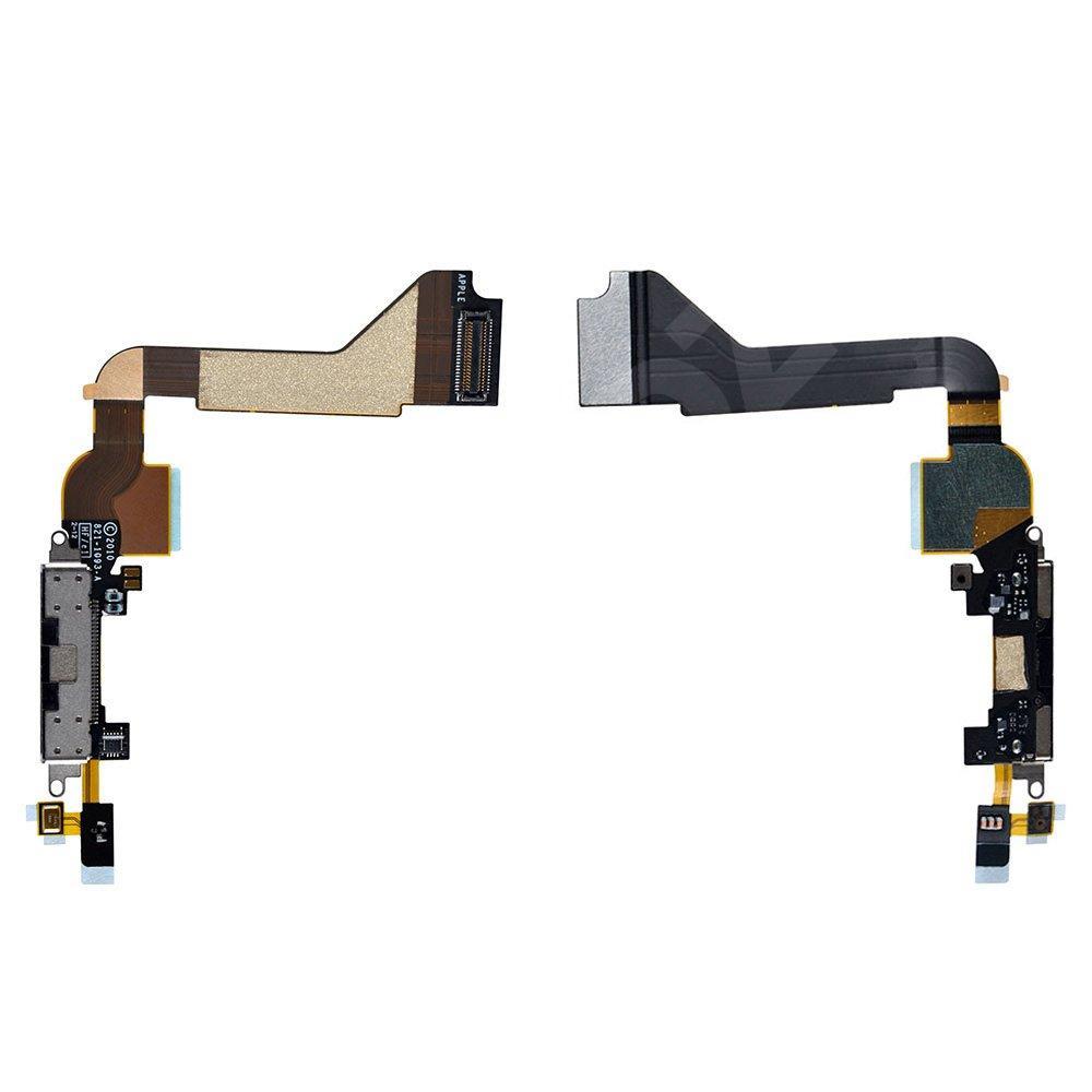 Шлейф для iPhone 4 с разъемом зарядки, цвет черный, копия высокого качества