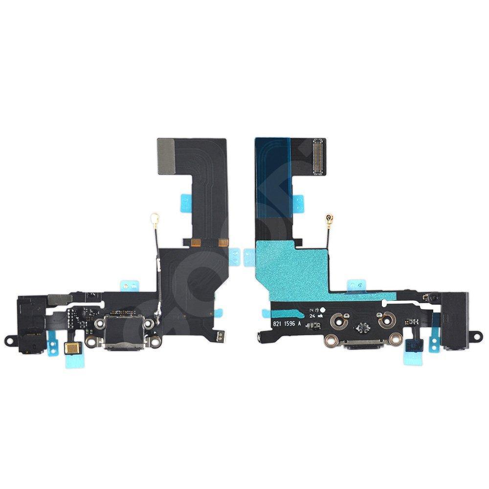 Шлейф для iPhone 5S с разъемом зарядки и гарнитуры, цвет черный, копия высокого качества