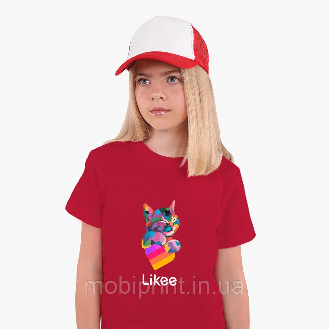 Детская футболка для девочек Лайк Котик (Likee Cat) (25186-1040) Красный