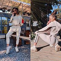 Костюм жіночий об'ємний худі з блискавкою і високі штани з провис Dm2745, фото 1