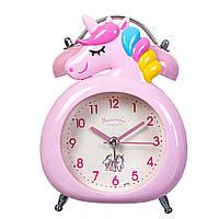 """Детские часы - будильник. """"Сказочный единорог"""" 14х10.5х6 см розовый цвет"""