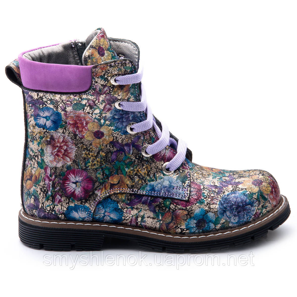 Ботинки Theo Leo RN819 27 17.5 см Черно-синие,сиренево-розовые