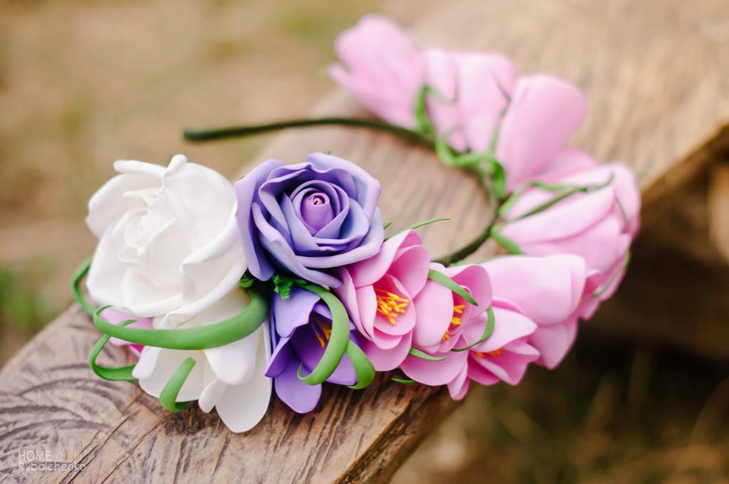 Ободок Цветочный из Фоамирана