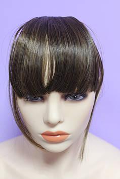 Челка на заколках искусственные волосы термоволокно светло коричневый прямая