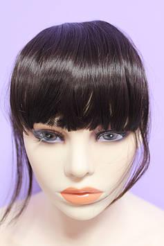 Челка на заколках искусственные волосы термоволокно темный шоколад прямая