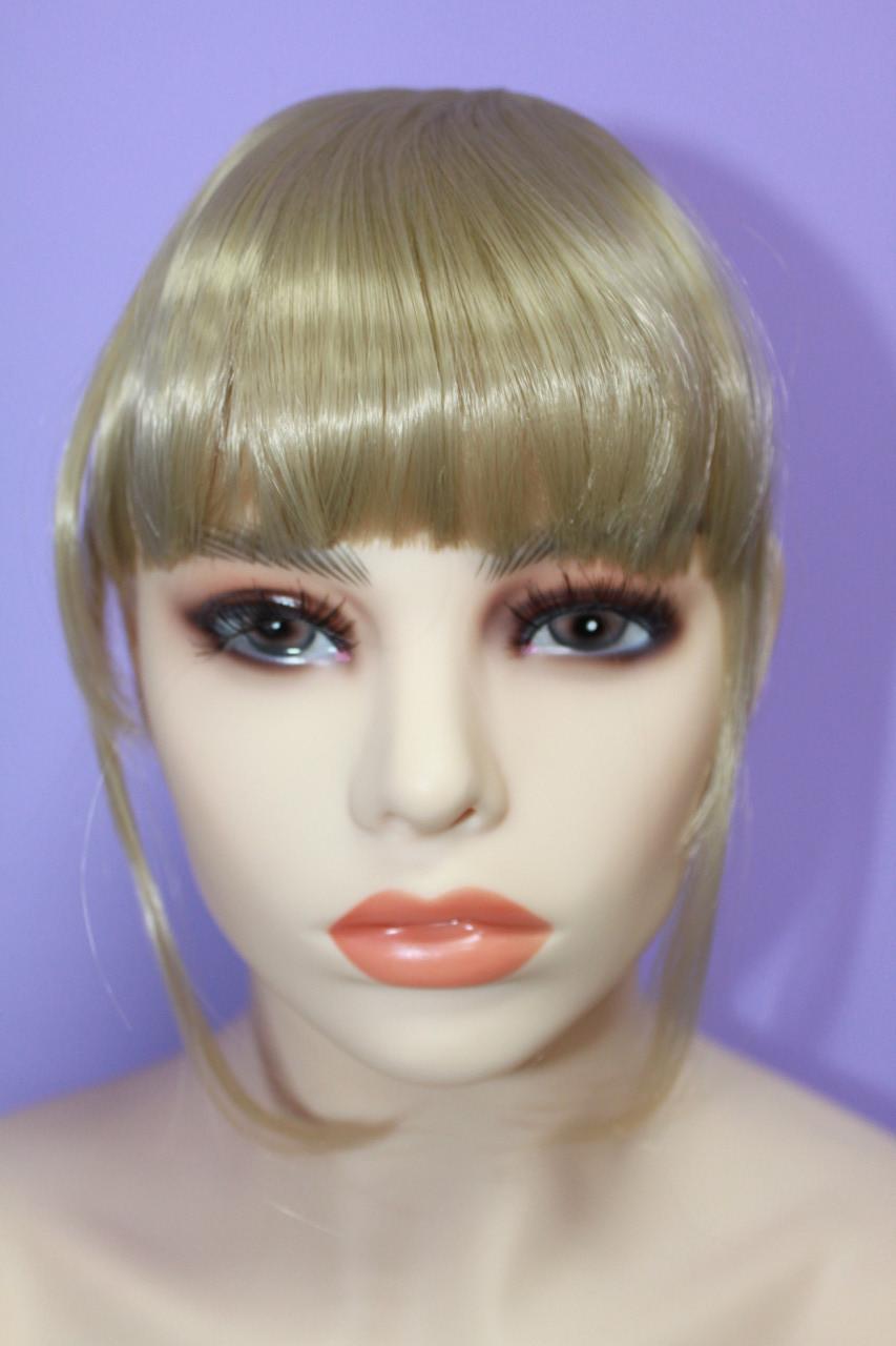 Челка на заколках искусственные волосы термоволокно прямая блонд