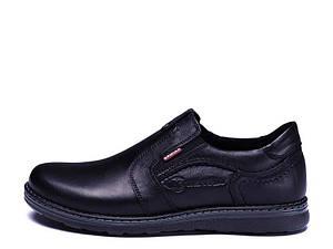 Туфли мужские из натуральной кожи на резинке Kristan black old school