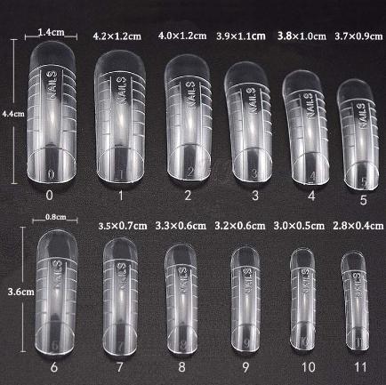 Многоразовые верхние формы (типсы) для наращивания с разметкой, 24 шт