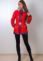 Красивая молодежная куртка в ярком цвете  под пояс с меховым воротником