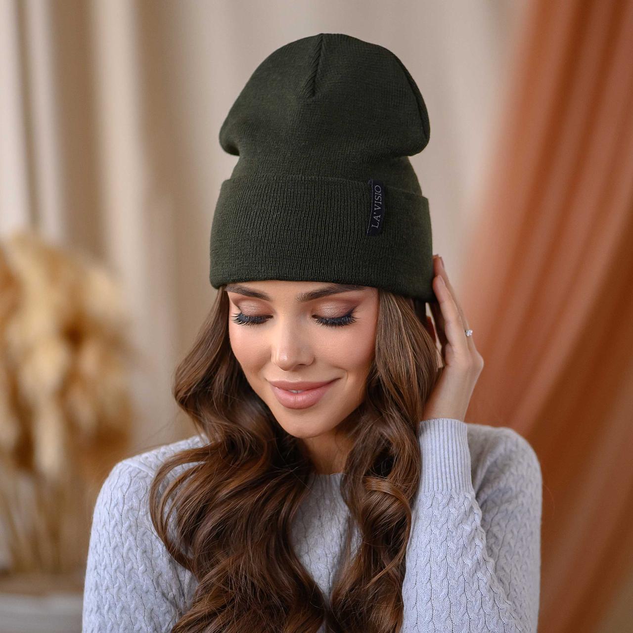 """В'язана шапка """"Кріо"""" колір-хакі"""