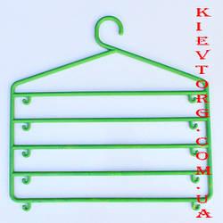 Вешалка (плечики, тремпель) органайзер многоярусная для одежды салатовая