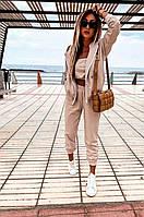 Спортивный костюм однотонный женский БЕЖ (ПОШТУЧНО), фото 1