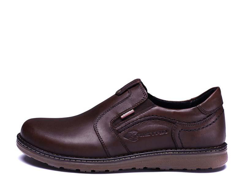 Туфли мужские из натуральной кожи на резинке Kristan brown old school