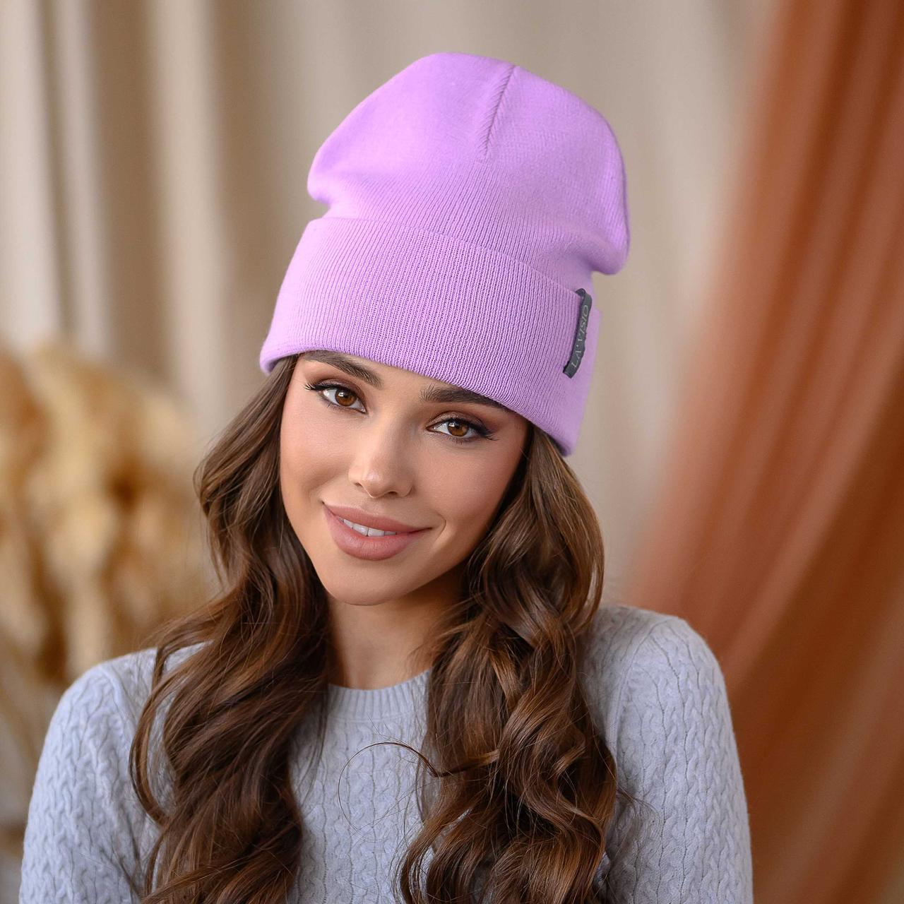 """В'язана шапка """"Кріо"""" колір-бузок"""