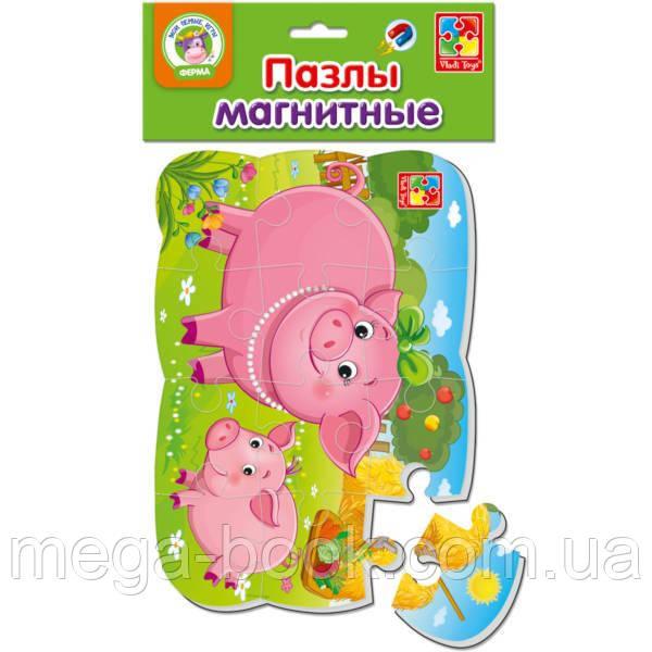 Магнітний пазл «Свинка та порося»