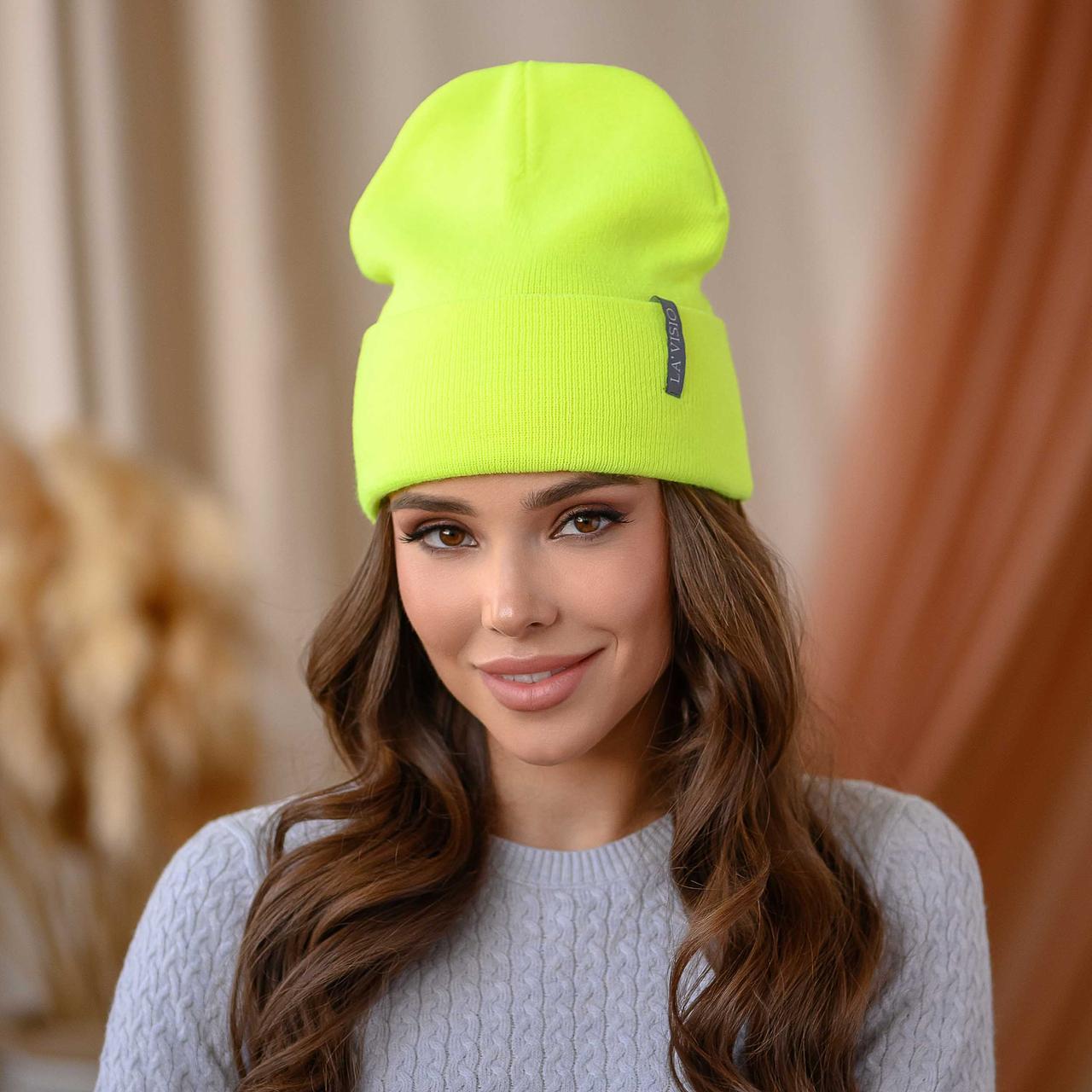 """Вязанная шапка """"Крио"""" цвет-лимонный неон"""