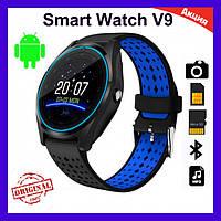 Розумні годинник Smart Watch V9. Оригінал! Смарт-годинник, змінний ремінець, чорно-синій