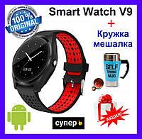 Розумні годинник Smart Watch V9. Оригінал! Смарт-годинник, змінний ремінець, чорно-червоний