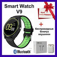 Розумні годинник Smart Watch V9. Оригінал! Смарт-годинник, змінний ремінець, чорно-зелений