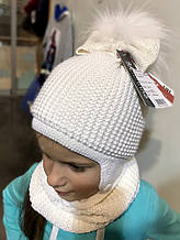 Комплект шапка + шарф для девочки BARBARAS Польша WV87 / JL Белый весенний осенний демисезонный
