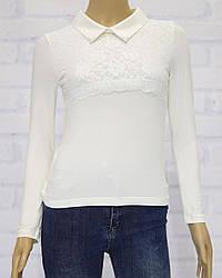 Блузка школьная с длинным рукавом для девочки, с кружевом, ADK  (размер 140)
