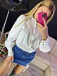 Женская белая и черная рубашка с бахрамой и рукавами фонариками 7913377, фото 2