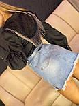 Женская белая и черная рубашка с бахрамой и рукавами фонариками 7913377, фото 3