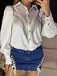 Женская белая и черная рубашка с бахрамой и рукавами фонариками 7913377, фото 4