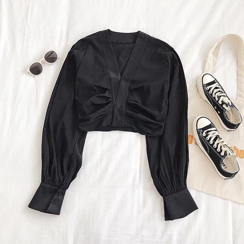 Женская укороченная блуза с длинными рукавами 6813378