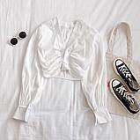 Женская укороченная блуза с длинными рукавами 6813378, фото 2