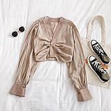 Женская укороченная блуза с длинными рукавами 6813378, фото 3