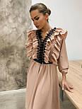 Платье миди с расклешенной юбкой и оборками на груди 34031518, фото 3