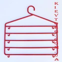 Вешалка плечики тремпель органайзер многоярусная для одежды красная
