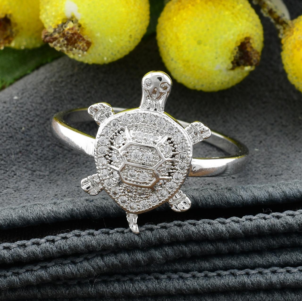 Кольцо Xuping 14743 размер 18 белые фианиты ширина 17 мм вес 2.0 г позолота Белое Золото