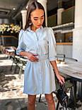 Коротке плаття - сорочка з рукавами - ліхтариками до ліктя і гудзиками по всій довжині 36031526, фото 3